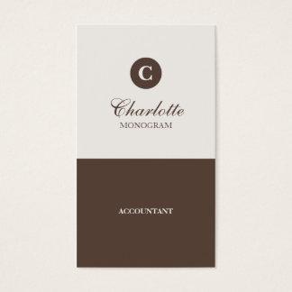 Enkla choklad- & krämMonogramvisitkortar Visitkort