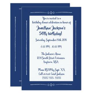 Enkla flott blått på blåtttillfällenpartyet 12,7 x 17,8 cm inbjudningskort
