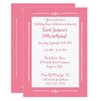 Enkla flott rosor på det rosa tillfällenpartyet 12,7 x 17,8 cm inbjudningskort