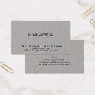 Enkla minsta grå färg cementerar kraft stil visitkort