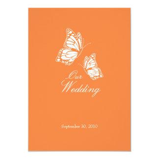 Enkla orange fjärilar som gifta sig meddelande 2 12,7 x 17,8 cm inbjudningskort