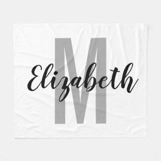 Enkla svartgrått räcker skrivar monogramen fleecefilt