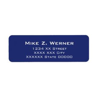 enkla yrkesmässiga blått returadress etikett