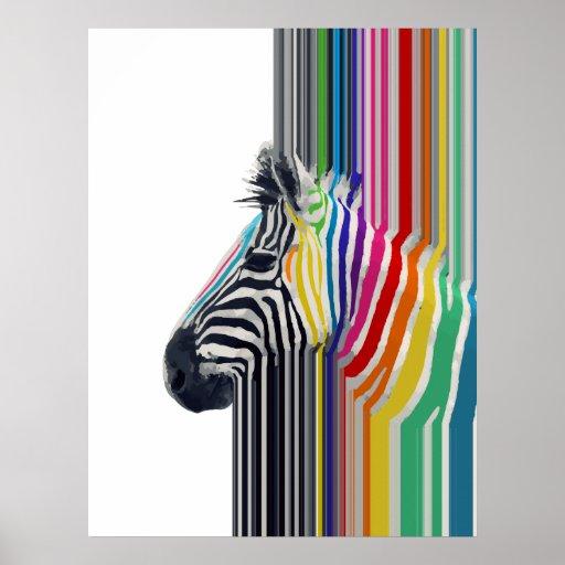 enorm moderiktig färgglad vibrerande randsebra affischer