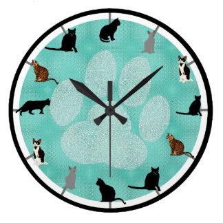 Enorma katter stor rund klocka
