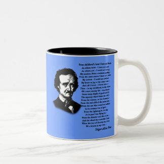 ENSAM Edgar Allan Poe dikt Två-Tonad Mugg