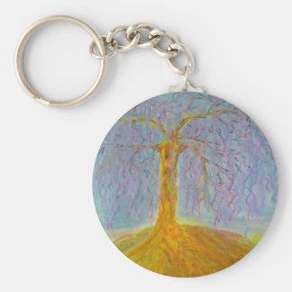 ensamt träd rund nyckelring