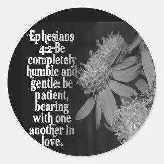 EPESIANS-4:2KÄRLEK - FAVORIT- SCRIPTURE RUNT KLISTERMÄRKE
