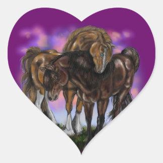 Equine klistermärkear för Devotion~ Hjärtformat Klistermärke