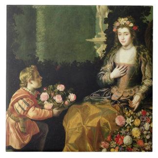 Erbjuda till floror, 1627 (olja på kanfas) kakelplatta