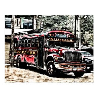 Erfara den fega bussen i Guatemala Vykort