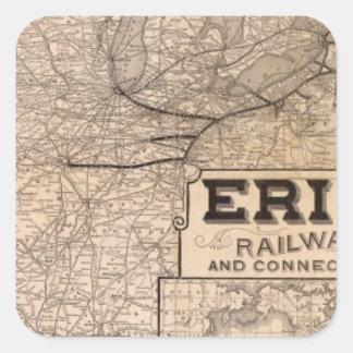 Erie järnväg och anslutningar fyrkantigt klistermärke