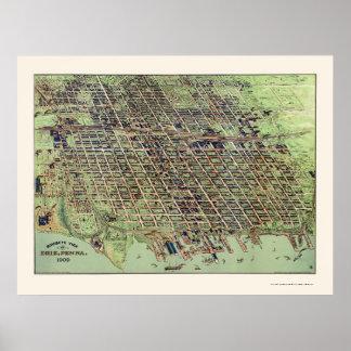 Erie panorama- karta för PA - 1909 Poster