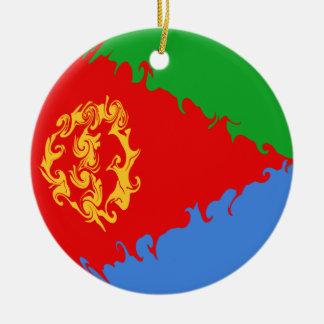Eritrea Gnarly flagga Rund Julgransprydnad I Keramik