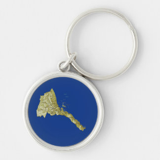 Eritrea karta Keychain Rund Silverfärgad Nyckelring