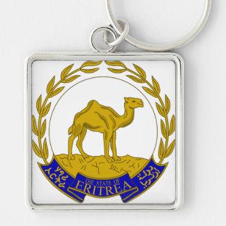 Eritrea vapensköld ER Fyrkantig Silverfärgad Nyckelring