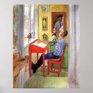Esbjorn som gör hans läxa av Carl Larsson