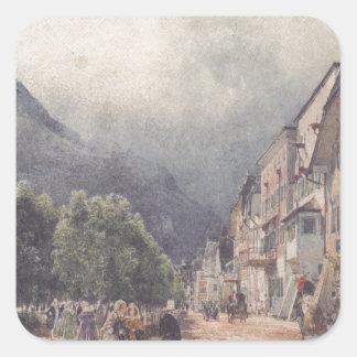 Esplanaden i Ischl av Rudolf von Alt Fyrkantigt Klistermärke