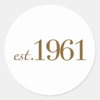 Est 1961 (födelseår) runt klistermärke