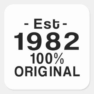 Est. 1982 fyrkantigt klistermärke