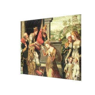 Esther för kungen Ahasuerus med Haman som överförs Canvastryck