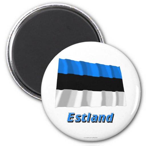 Estland Fliegende Flagge mit Namen Magneter