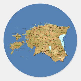 Estland kartaklistermärke runt klistermärke