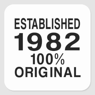 Etablerad 1982 fyrkantigt klistermärke