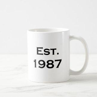 etablerad 1987 kaffemugg