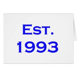 etablerad 1993 hälsningskort