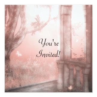 Eterisk fantasi 1 rosa händelseinbjudan fyrkantigt 13,3 cm inbjudningskort