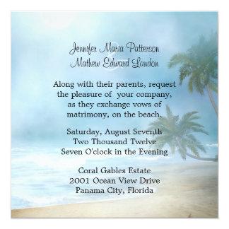 Eteriska palmträd & strandbröllopinbjudan fyrkantigt 13,3 cm inbjudningskort