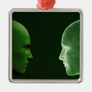 Etik i teknologi som ett Digital begrepp Julgransprydnad Metall