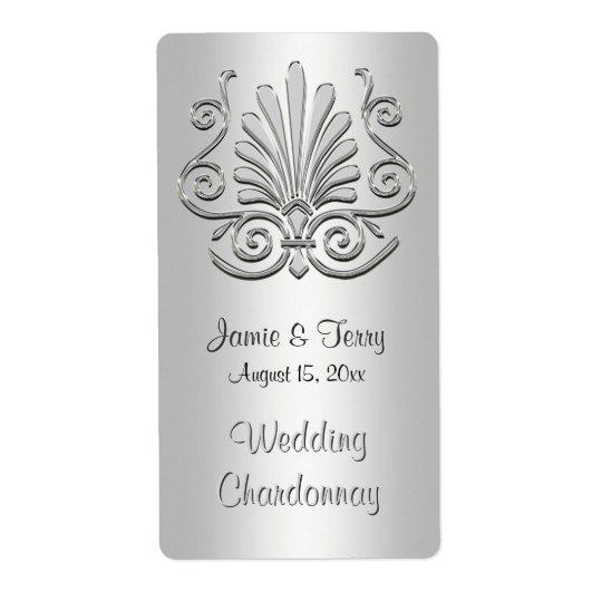 Etikett 2 för vin för party för silvervitart déco fraktsedel