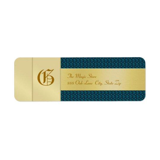 Etikett för adress för affär för blåttvävMonogram Returadress Etikett