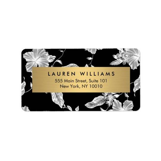 Etikett för adress för blommönster 3 för elegant adressetikett