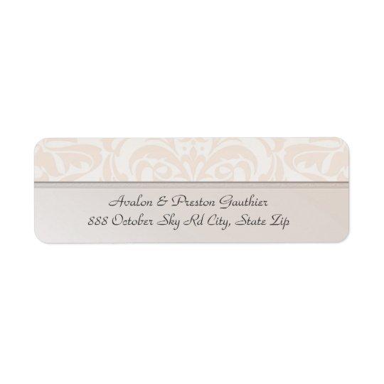 Etikett för adress för bröllop för champagnemetall returadress etikett