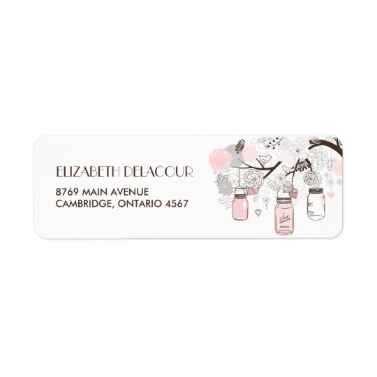 Etikett för adress för bröllop för rodna rosa returadress etikett