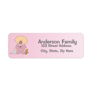 Etikett för adress för flickaBlankie rosor Returadress Etikett