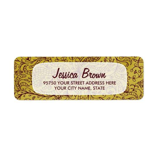 Etikett för adress för guld- & röd konst för returadress etikett