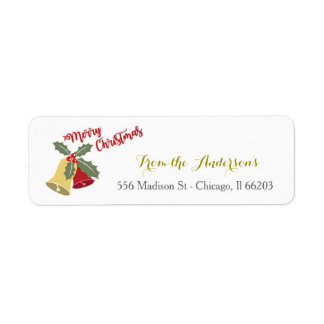 Etikett för adress för helgdagKlockor jul Returadress Etikett