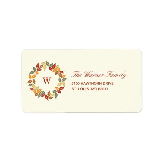 Etikett för adress för höstkranthanksgiving adressetikett