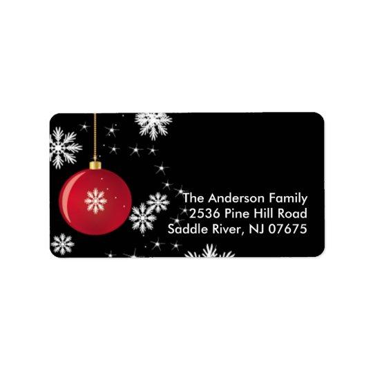 Etikett för adress för julprydnadsnöflingor adressetikett