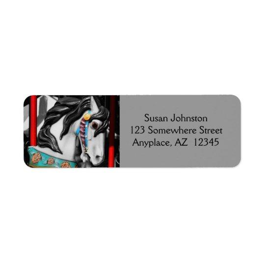 Etikett för adress för karusellhäst svartvit returadress etikett