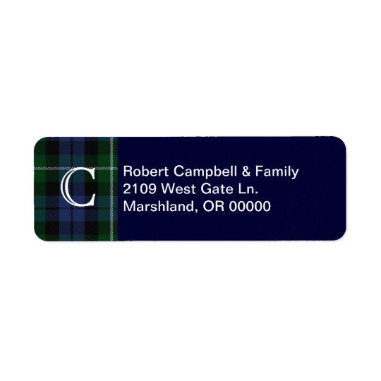Etikett för adress för Monogram för klanCampbell p Returadress Etikett