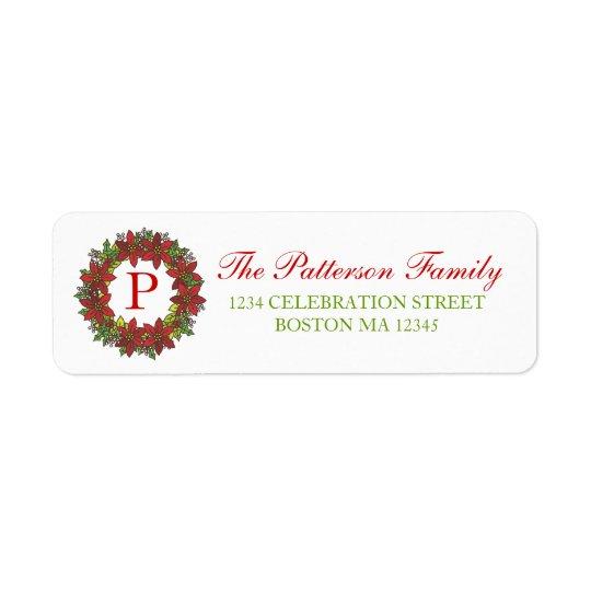 Etikett för adress för Monogram för Returadress Etikett