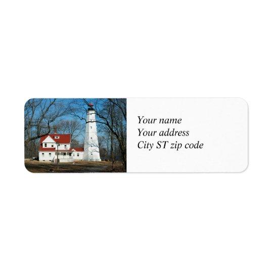 Etikett för adress för North Point fyrMilw WI Returadress Etikett