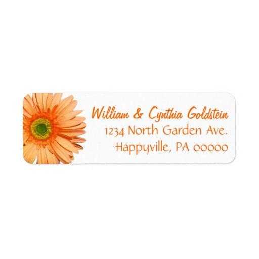 Etikett för adress för orange- & vitGerberadaisy Returadress Etikett