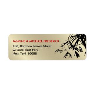 Etikett för adress för orientaliska bambulöv svart returadress etikett
