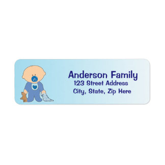 Etikett för adress för pojkeBlankie blått Returadress Etikett
